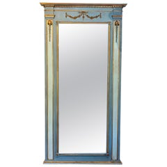Palatial Neoclassical Mirror, in Swedish Blue