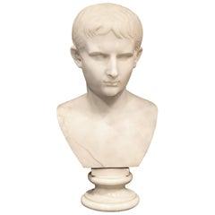 Grand Tour Marble Bust of Octavian 'Augustus Caesar' as a Boy, Italy, circa 1810