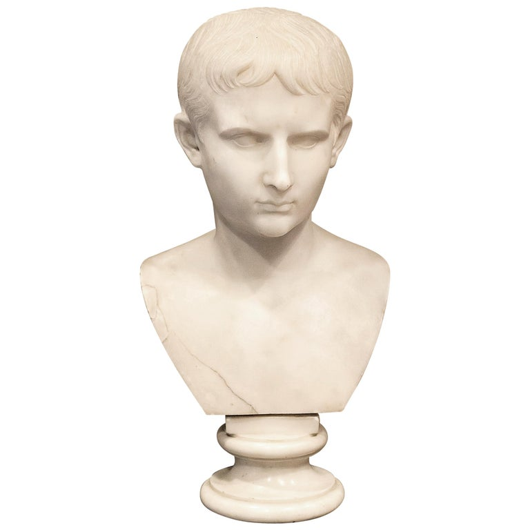 Grand Tour Marble Bust of Octavian 'Augustus Caesar' as a Boy, Italy, circa 1810 For Sale