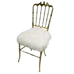 Chiavari Brass Italian 1970s Midcentury Chair in Mongolian Sheeps Fur