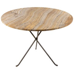 Round Stone Topped Table with Metal Base