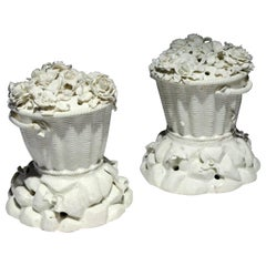 French Porcelain Potpourri Jars & Covers Modelled as Lidded Baskets, St. Cloud