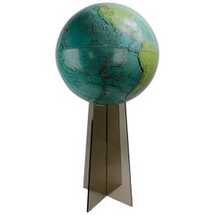 1970s Globe on Smoked Lucite Stand