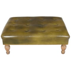 Large Tufted Green Leather Ottoman Footstool