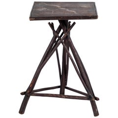 Early American Tall Table with Hand Painted Stenciled Top