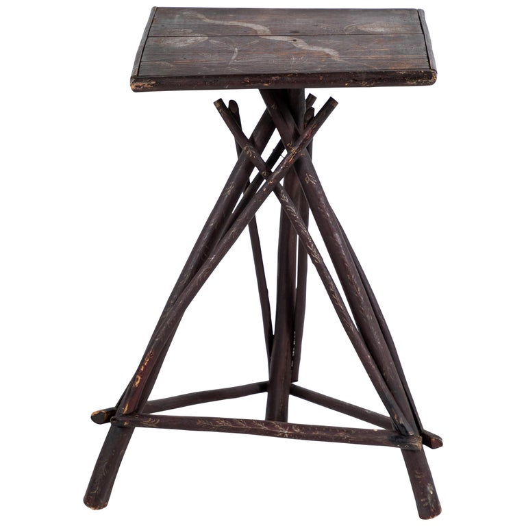Early American Tall Table with Hand Painted Stenciled Top For Sale