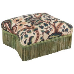French Squared Ottoman with Original Fringe Details