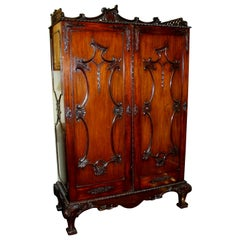"Antique English ""Chinese Chippendale"" Style Carved Mahogany Two-Door Cupboard"
