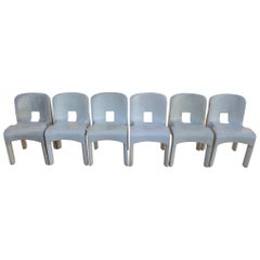 Set of Six Universale Stacking Dining Chairs by Joe Colombo for Kartell