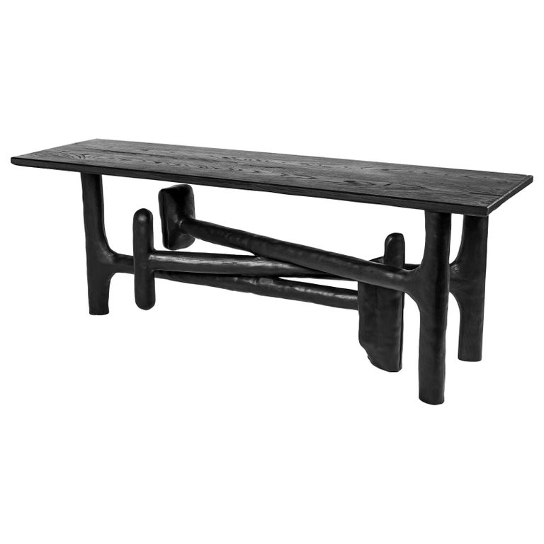 Organic Hand Carved Ebonized Ash Entry Table by Casey McCafferty For Sale