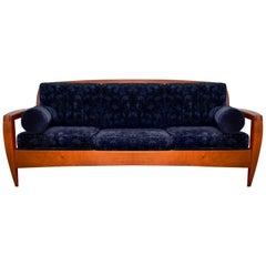 Postmodern Custom Three-Seat Blue Paisley Velvet Cherrywood Studio Sofa, 1990s