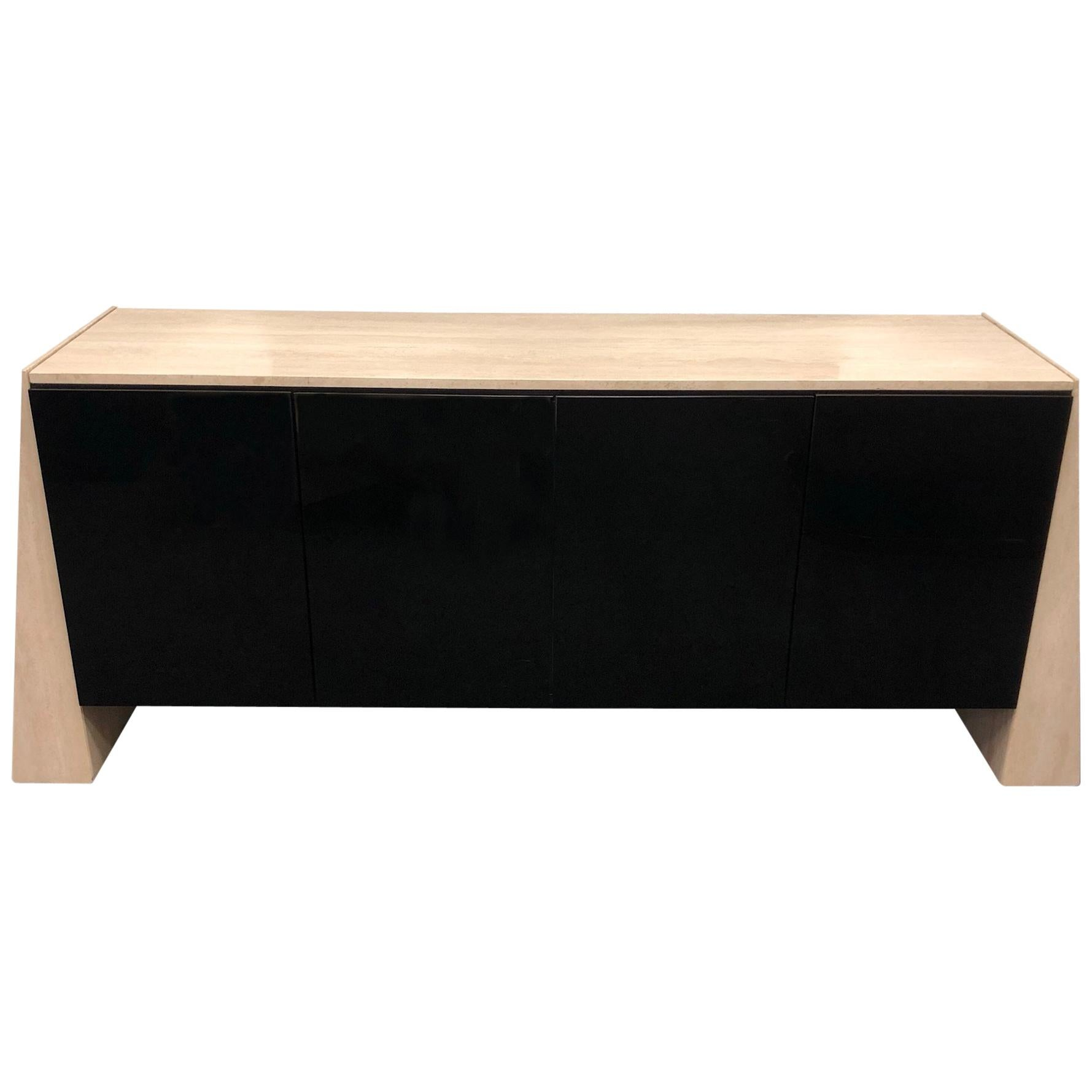 Italian Travertine and Black Lacquered Credenza