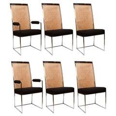 6 Milo Baughman Chrome & Cane Back Black Velvet Dining Chairs