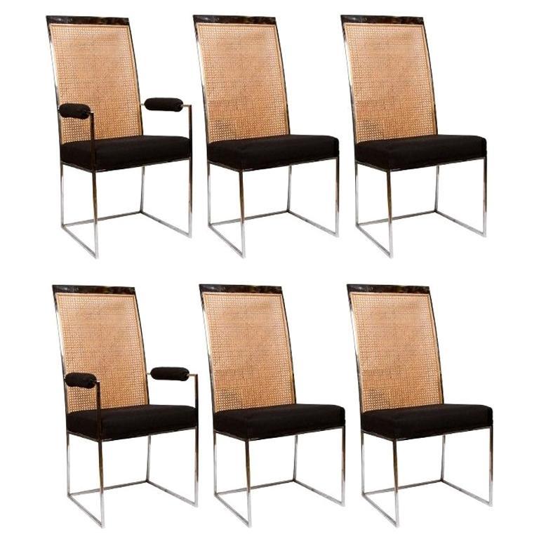 6 Milo Baughman Chrome & Cane Back Black Velvet Dining Chairs For Sale