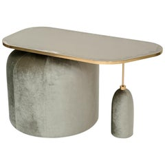 EGG Cocktail Side Table with Nickle Plated and Silvered Brass Top, Velvet Base
