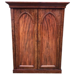 19th Century Flame Mahogany Compactum Wardrobe / Gentleman's Wardrobe