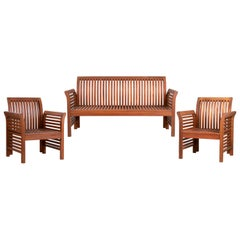 Garden Sofa and Two Armchairs Set of Wooden Furniture