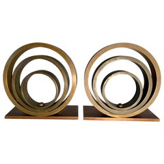 Pair of Brass and Copper Ring Bookends
