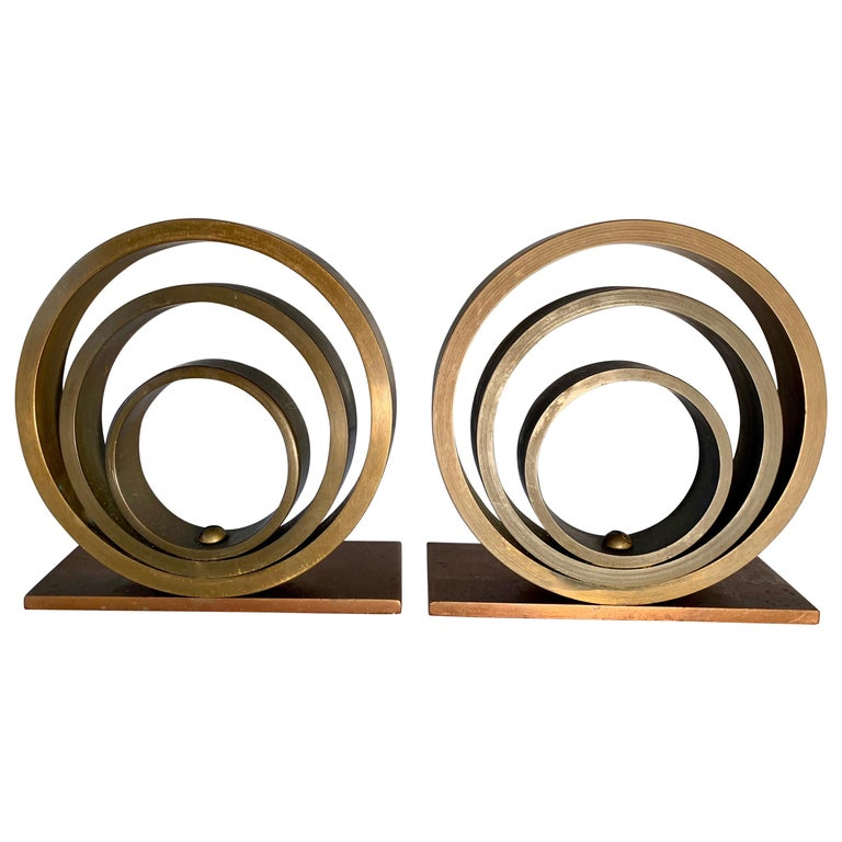 Pair of Brass and Copper Ring Bookends For Sale