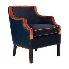 Blue Velvet Upholstered Armchair