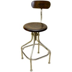 1950s Flambo French Industrial Cream Metal and Wood Work Stool with Chair Back