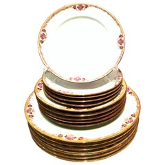 20th Century Art Nouveau Limoges France Dinnerware Set of 17 by, M. Redon