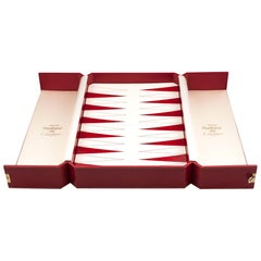 Cartier Red Leather Bound Silk Lined Backgammon Games Box, 20th Century