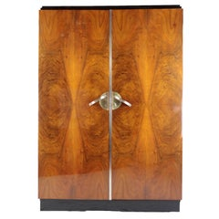 French Art Deco 1920s Cupboard Paris Nutwood with Brass Mountings