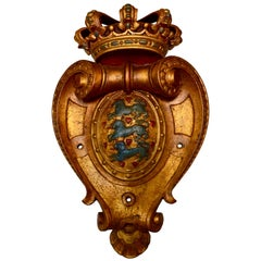 Gilded Wooden Plaque With The Carved Coat of Arms Of Denmark