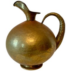 Hammered Italian Brass Urn Pitcher Signed Egidio Casagrande