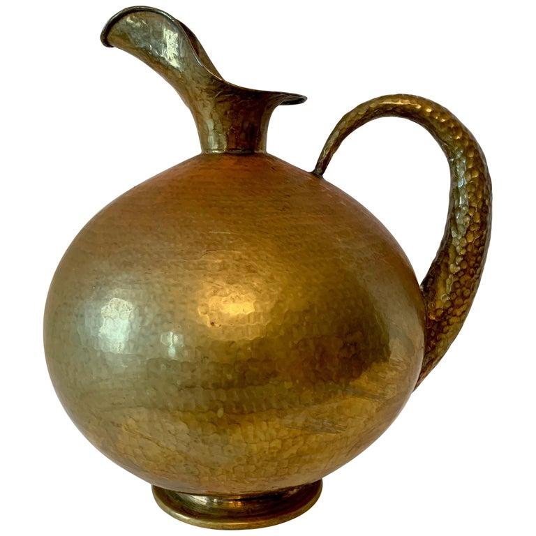 Hammered Italian Brass Urn Pitcher Signed Egidio Casagrande For Sale