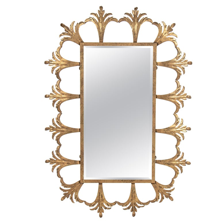 1980s French Golden Iron Mirror with Flower Motifs For Sale