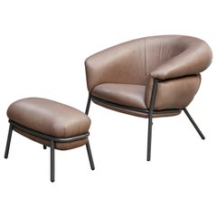Grasso Brown Leather and Lacquered Metal Armchair for BD by Stephen Burks