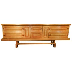 Guillerme & Chambron Rare Large Oak Sideboard with Sliding Doors and Drawers