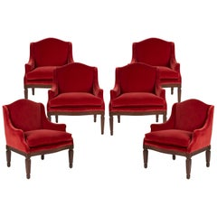 Set of Six Red Upholstered Wooden Armchairs