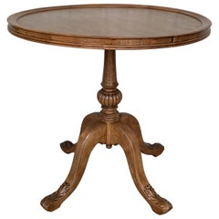 Pedestal Walnut Round Coffee or Side Table with Ornamental Carved Legs