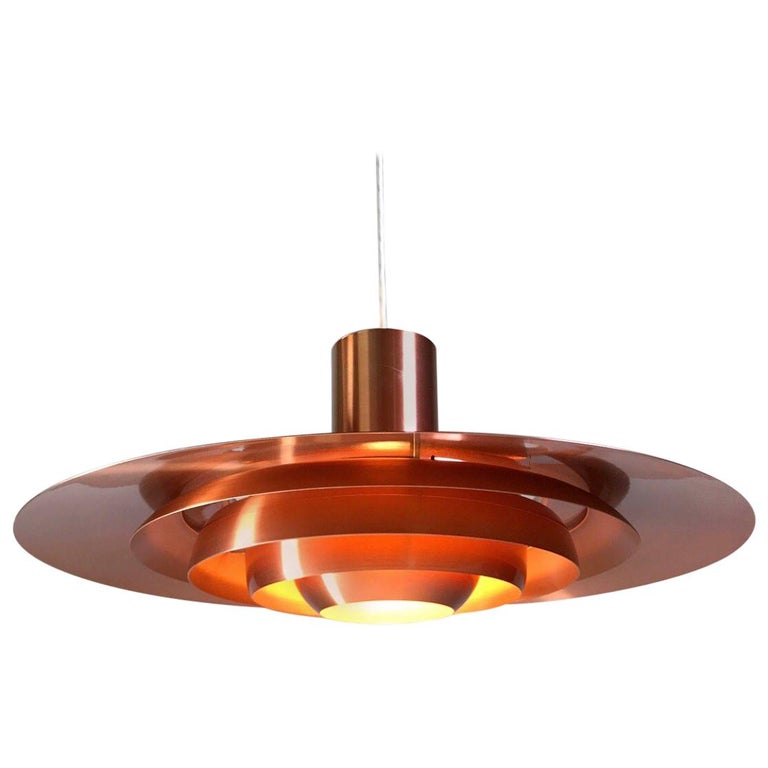 Giant Copper Ceiling Light P700 by Kastholm & Fabricius for Nordisk Solar 1964 For Sale