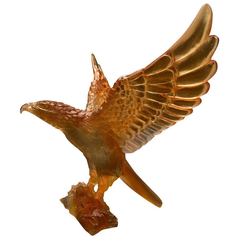 Daum France Glass Paste Sculpture, Amber-Gray Eagle, 2019 For Sale
