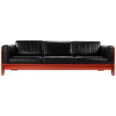 Midcentury Leather and Wood Bastiano Three-Seat Sofa by Afra & Tobia for Gavina