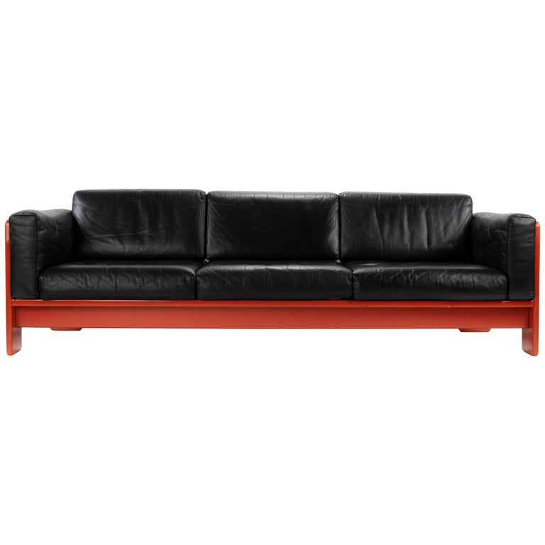 Midcentury Leather and Wood Bastiano Three-Seat Sofa by Afra & Tobia for Gavina For Sale