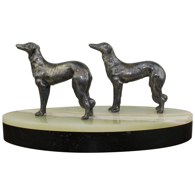 Art Deco Group of Greyhounds on Marble Base For Sale