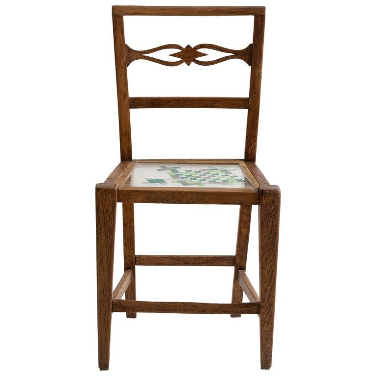Mosaiced Chair in Chestnut Wood with Mosaic Seat by Hillsideout For Sale