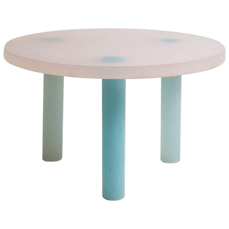 Haze Low Table in White and Blue Resin by Wonmin Park For Sale