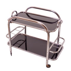 Bar Cart in Original Chrome with Removable Tray and Black Glass Art Deco, 1930s