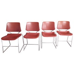 Krueger Set of Four Chrome and Plastic Chairs