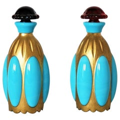 French Art Deco Pair of Turquoise Opaline Glass Perfume Bottles, circa 1930
