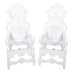 Pair of Italian Baroque Oak Throne Chairs, circa 1750