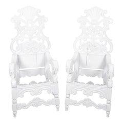Pair of Italian Baroque Oak Throne Chairs, circa 1750
