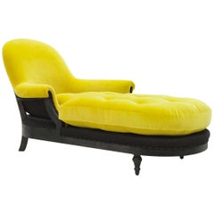 Yellow Meridienne Long Chair with Velvet Fabric