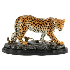 Standing Leopard Sculpture in Hand Painted Porcelain